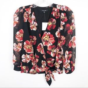Madewell Floral Wrap Crop Top Black Red Size XS